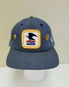 VINTAGE US MAIL SNAPBACK HAT UNITED STATES POSTAL TRUCKER CAP WITH 7 ... 0459e585bb1