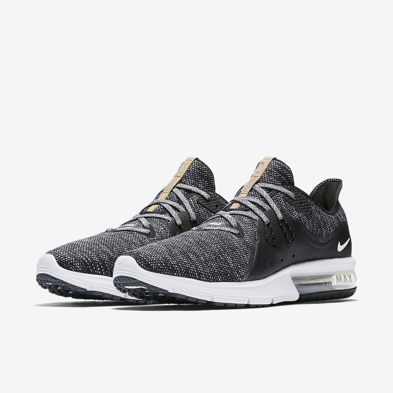 a8b5cc2b1a6 Nike AIR MAX SEQUENT 3 Mens Black White Grey 011 011 011 Athletic Casual  Sneaker Shoes 25c85b