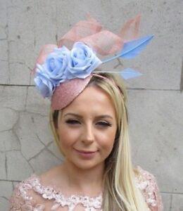 8adc8d4a0f Cornflower Light Blue Rose Gold Flower Feather Hat Hair Fascinator ...