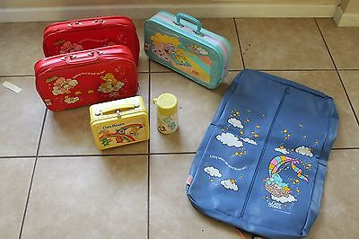 Vintage Care Bear Traveling Set. of 5. Lunch Box, Luggage, and Garment Bag