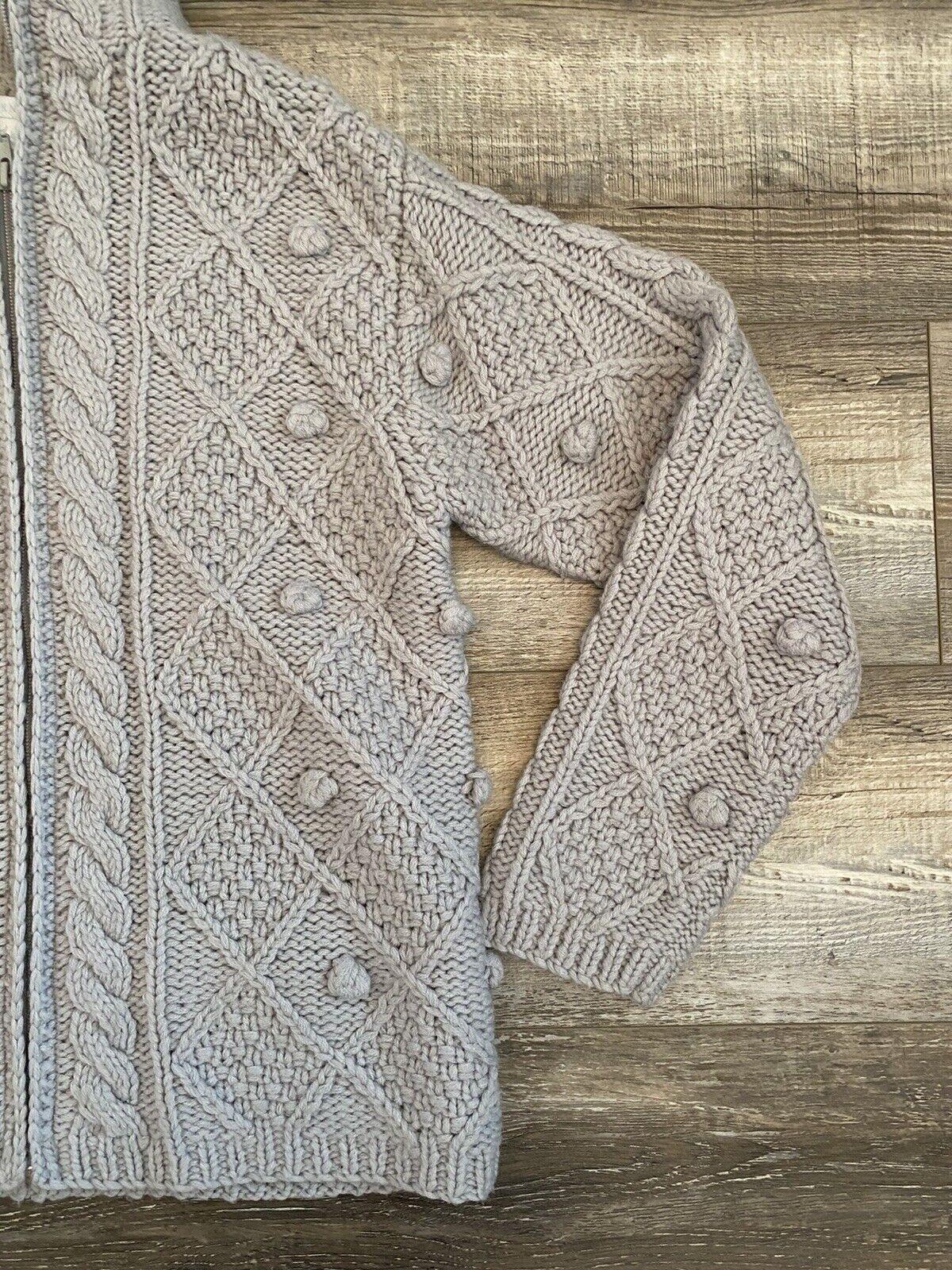 Hand Knit Gray Wool Crochet Chunky Knit Pom Pom F… - image 4