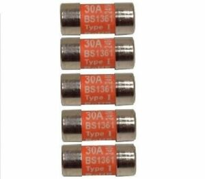 Pack-of-Five-30-Amp-Consumer-Unit-Cartridge-Fuse-BS1361-Ovens-Cookers-Shower