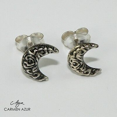 Solid Sterling 925 Silver Moon Crescent Stud Earrings