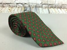 Polo Ralph Lauren Green Tie Paisley All Over Pattern 100% Silk 58.5L