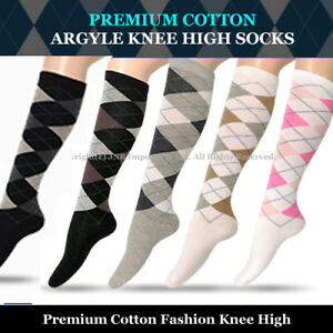 Premium Cotton Argyle Fashion Knee High Socks Size 2-8 (Shoes Size) -From Sydney