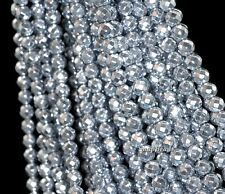 """8MM SILVER HEMATITE GEMSTONE SILVER FACETED ROUND 8MM LOOSE BEADS 7.5"""""""