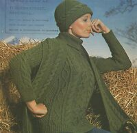 Ladies Aran Sweater Hat & Scarf Knitting Pattern : 32 34 36 38 inch bust