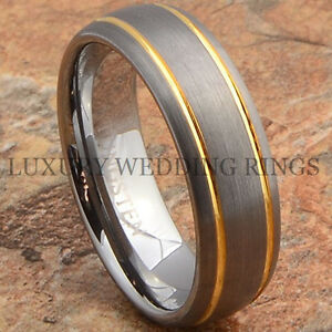 Mens Tungsten Ring 14K Gold Wedding Band 7mm Titanium Color Brushed Size 6 13