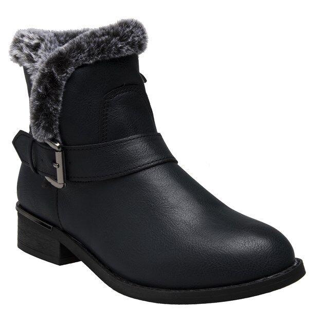 New Womens Lotus Black Ellen Pu Boots Ankle Zip