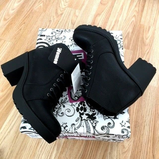 NEW Women Ladies  Ankle LEATHER Lace Heeled Block High Heel Grip Boot Shoe Size