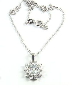 Women-039-s-18-Carat-White-Gold-plated-Clear-Cubic-Zircon-necklace-Jewellery