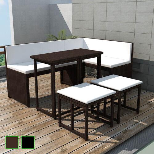 vidaXL Poly Rattan 12-tlg Garten Sofagarnitur Gartenmöbel Lounge Schwarz//Braun