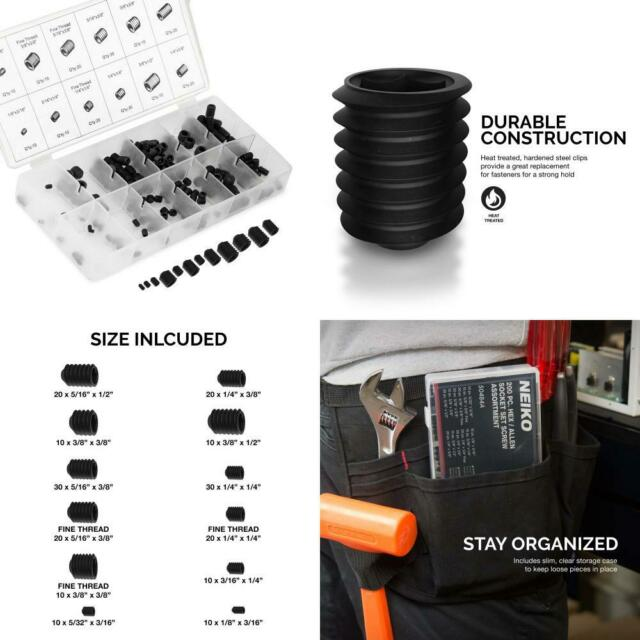 Full Steel Construction Coarse /& Fine Thread Screws Included 200Piece Neiko 50484A Internal Hex Allen Set Screw Assortment