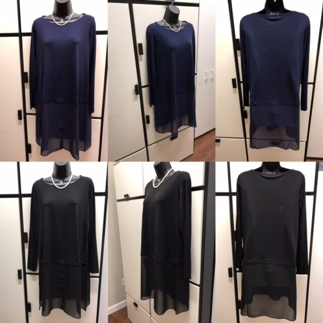 Eileen Fisher M Stretch Silk Midnight Bateau Neck Jersey Tunic Top