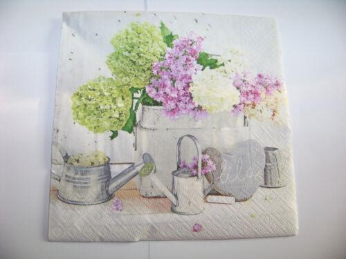 4 Servietten Blumen Hortensie Shabbylook Gieskanne