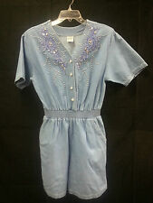 80's Women Romper Jumper Shorts-Suit Jean Studded Jewels Pearl Buttons Disco Fab