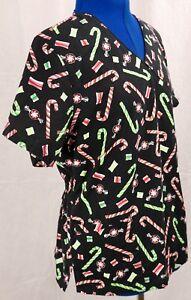 V-Life-Large-Scrub-Top-Candy-Cane-L-Medical-Uniform-Work-Shirt-Black-V-Neck-LG