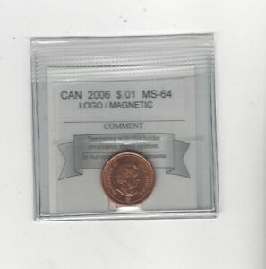 2006-Logo-Coin-Mart-Graded-Canadian-Small-One-Cent-MS-64-Magnetic