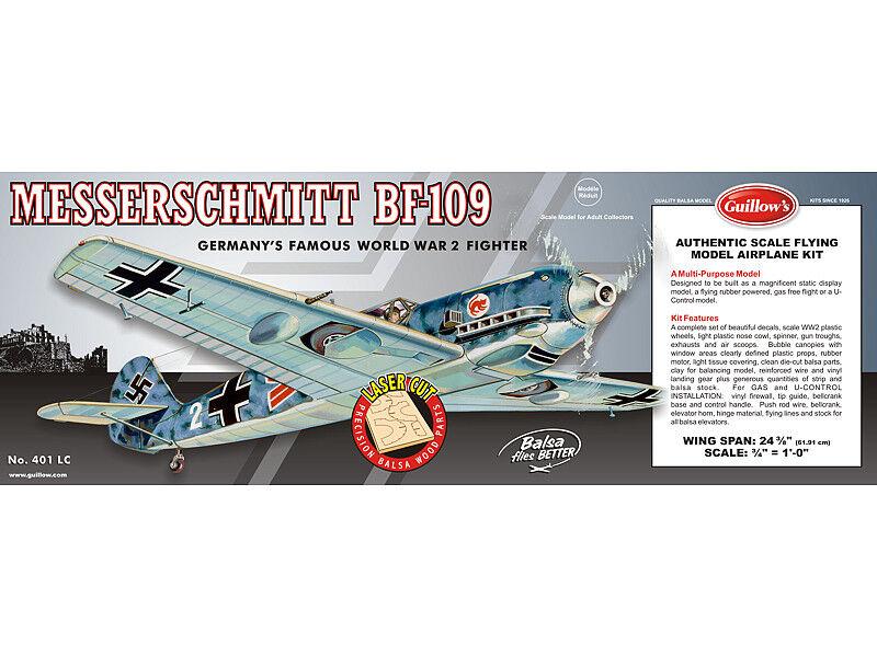 vendita calda Guillows 401 401 401 LC Messerschmitt BF-109 1 16 Scala Balsa Legno Kit 24 1cm Ala  risposte rapide