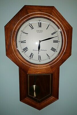 Seiko Qxh102bc Analog Wall Clock With Pendulum And Digital