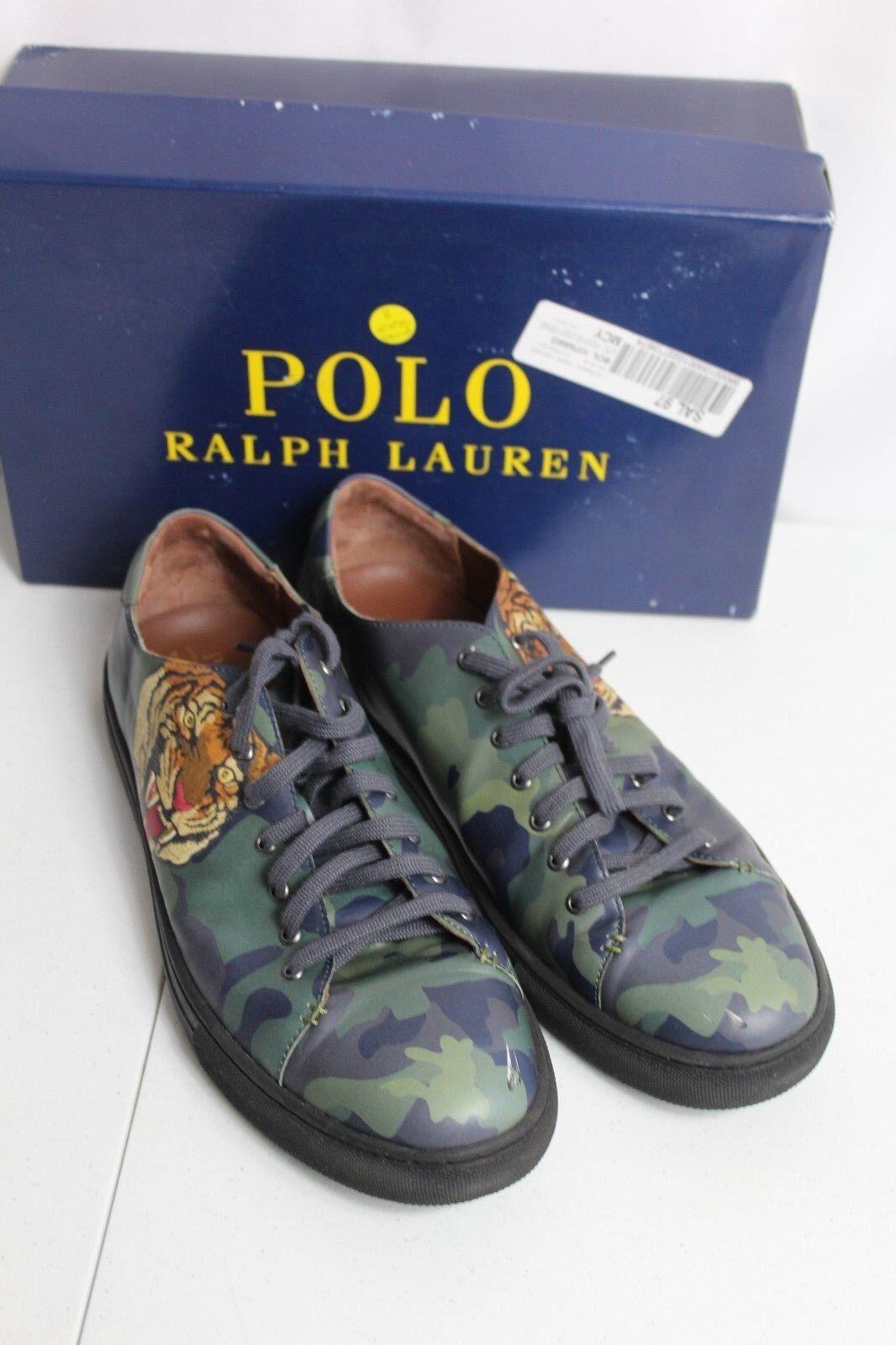 Polo Ralph Lauren Jermain Logo Fashion  14D Laces Up Shoes Camo  175