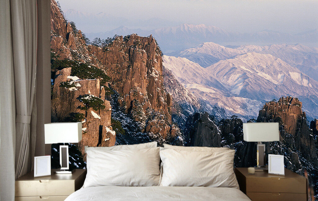 3D  Mountain Peaks 42 Wall Paper Wall Print Decal Wall Deco Indoor Mural Summer