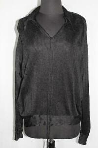 RARE-FRENCH-ANTIQUE-PLUS-SIZE-EDWARDIAN-BLACK-WOVEN-SILK-BLOUSE-52-INCH-BUST