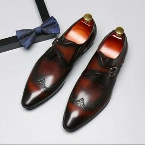 Image is loading Mens-Leather-Pointy-Toe-Formal-Dress-Wedding-Shoes- f59254845a0e