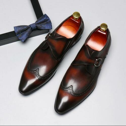sculpté robe formelle mariage chaussures cuir en Business Chic bout pointu Wing Mens Astuce n8O0wXPk