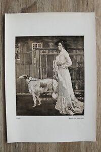 Kunst-Druck-1-Blatt-1905-06-Frau-mit-Hund-nach-Gemaelde-von-Robert-Weise-Mode