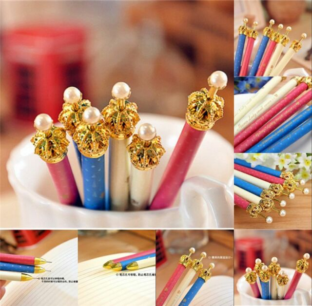 3pcs New Kawaii Pearl Crown Design Automatic Mechanical Pencil Scalable Refill