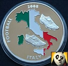 2008 40mm UEFA EURO Football Championship With Coloured Italy Map Coin Medal