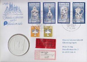 DDR MI Nr 3241 - 3244 I, Porzellan Medaille MiF Express Brief SST Berlin 1989 - Kerpen, Deutschland - DDR MI Nr 3241 - 3244 I, Porzellan Medaille MiF Express Brief SST Berlin 1989 - Kerpen, Deutschland