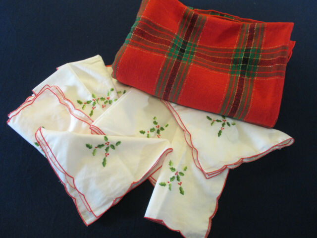 """Christmas Tablecloth Scotch Plaid Woven 8 Napkins Embroidered Holly 56"""" x 78"""""""