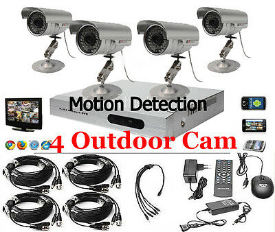 US 4CH CCTV DVR Kit Motion Detection Security System Indoor Outdoor IR Camera
