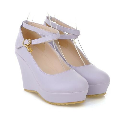 Sweet Womens Round Toe High Wedge Heel Platform Shoes Ankle Strap Creepers Pumps