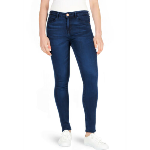New Ladies F/&F Skinny Jeans Womens Denim Mid Waisted Pants Overdye Blue Stretch