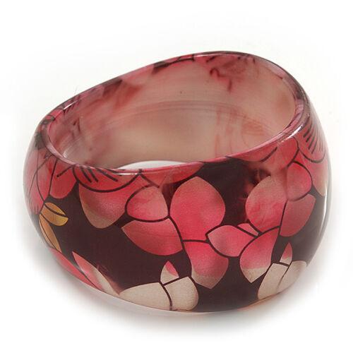 Resina Grueso Floral pulsera en Negro//Rosa//Oro-longitud 20cm