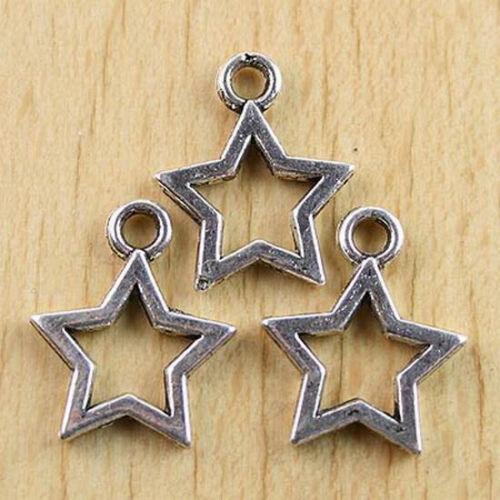 20Pcs Tibetan silver plt open star drops h0686