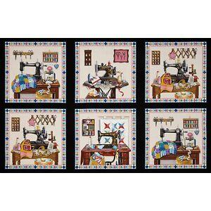 "23/"" Fabric Panel Elizabeth/'s Studio Farm Animal Rooster Pig Horse Blocks Black"