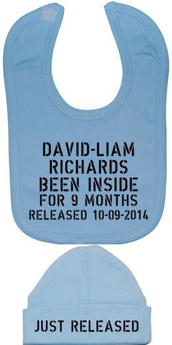 Personalised Name DOB Baby Feeding Bib /& Hat//Cap Newborn-12m Acce Gift Boy Girl