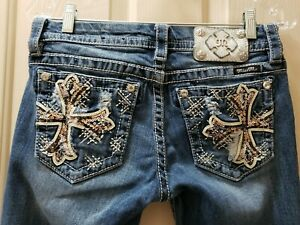 Miss-Me-Signature-Boot-Denim-Jeans-Size-27-Rise-7-5-Waist-Flat-15-30X30-5