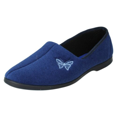 LADIES LADY LOVE BUTTERFLY EMBROIDERED SLIP ON INDOOR HOUSE COMFORT SLIPPERS