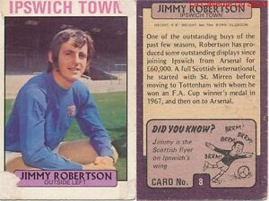 008 Jimmy Robertson Ipswich Town Scotland Card Footballer 1972 Purple Back Ab&c Garantie 100%