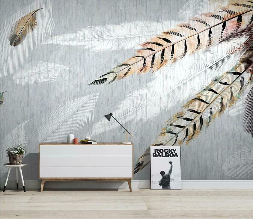 3D Art Feather N2206 Wallpaper Wall Mural Removable Self-adhesive Sticker Amy