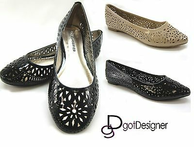 NEW Womens Ballet Shoes Summer Flats Casual Intricate Cut Outs Cute Black Beige