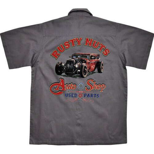 * Hot Rod Oldtimer Rockabilly Werkstatt Worker-Shirt Kustom Hemd *1177 grau