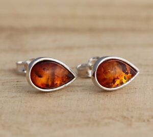 Cognac-Baltic-Amber-925-Sterling-Silver-Teardrop-Stud-Earrings-Jewellery