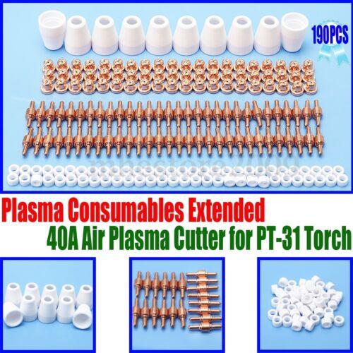 190* Air Plasma Cutter Consumable Electrode Tip Torch PT-31 LG-40 CUT50 Supplies