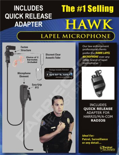 New Hawk Lapel Mic /& Quick Release for Harris Unity XG15 XG25 XG75 P5300 P7300